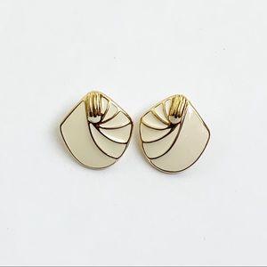 Trifari Gold Tone Ivory Enamel Pierced Earrings